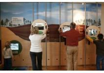 Familien betrachten Ausstellung im Hochmoorzimmer im Infozentrum Kaltenbronn