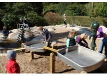 Kinder auf dem Wasserspielplatz Weltvogelpark Walsrode