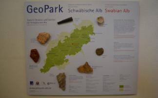 Karte des Geoparks Schwäbische Alb mit Gesteinen