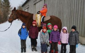 Kinder vor Pferd Reitverein Pegasus Mühlacker
