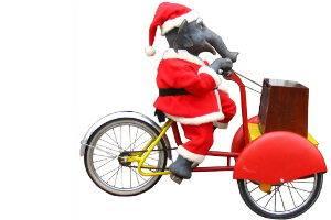 Weihnachtsmann Jochen auf dem Fahrrad,  Weihnachtsmarkt in der Preußenallee in Berlin, © Family & Friends e. V.