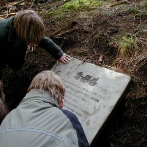 Kinder lesen eine Tafel am Trollpfad Kaltenbronn