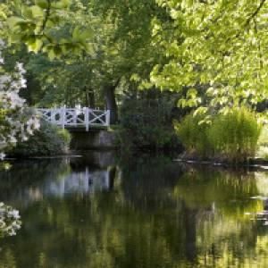 Brücke über das Wasser im Schlosspark Lütetsburg